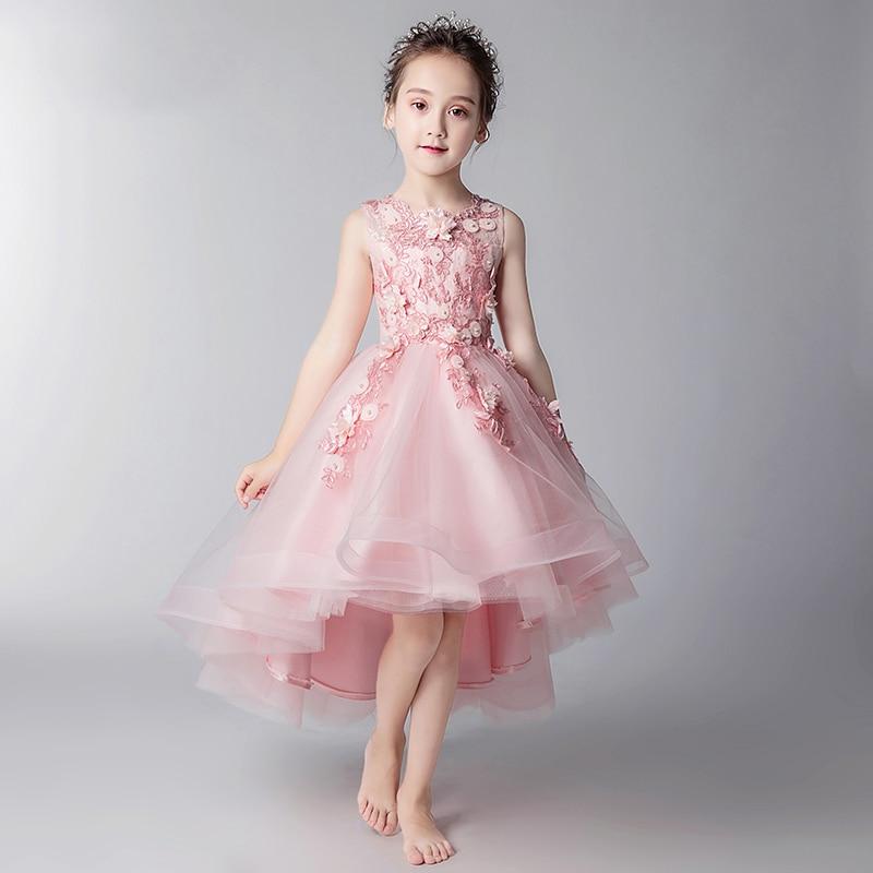 Princess Evening Dress Appliques Flower Girl Dresses for Wedding Short Front Long Back Kids Pageant Dress for Birthday Prom