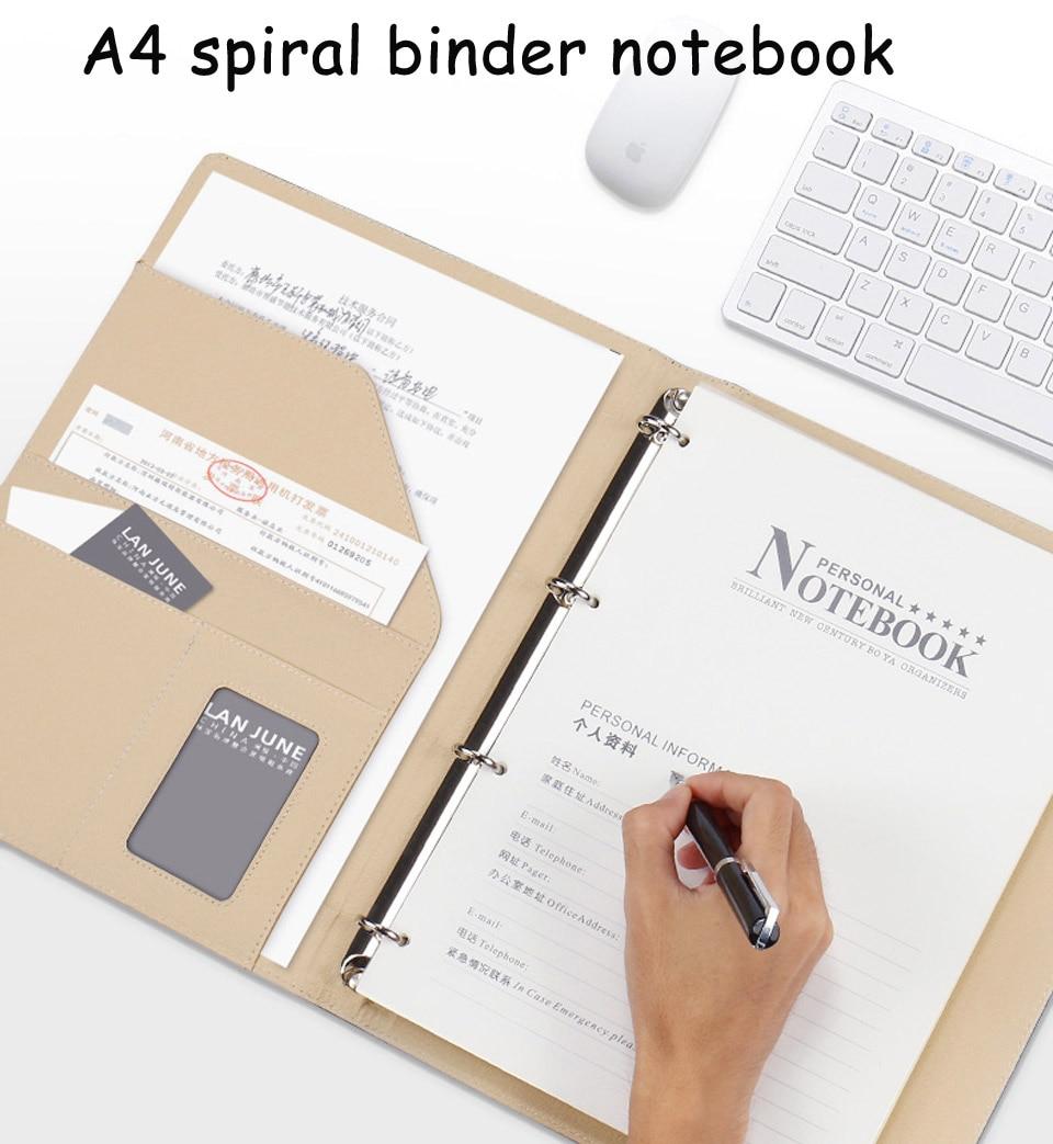 HUA JIE A4 Spiral Binder Notebook Business Card Holder Executive ...