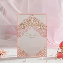 Laser Cut Wedding Invitations Cards With Gold Embossed Crown Lace Flora Design for Bridal Shower Free Customized CW6072