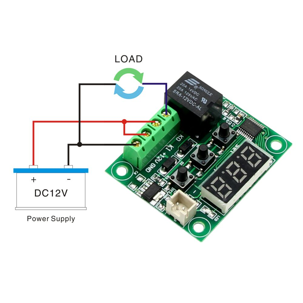 DC 12V W1209 Digital Cool/Heat Temp Thermostat Thermometer Temperature Controller On/Off Switch -50-110C+W1209 Case Acrylic Box