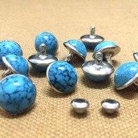 DIY100PCS 10mm Belt Bag Shoes Accessories Blue Turquoise Crack Rivets Leather Craft Punk Studs Blue Turquoise