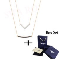 SWA RO 2019 New HERO Necklace Set Rose Gold Two Necklace Black and White Crystal Female Necklace Wedding Jewelry Gift
