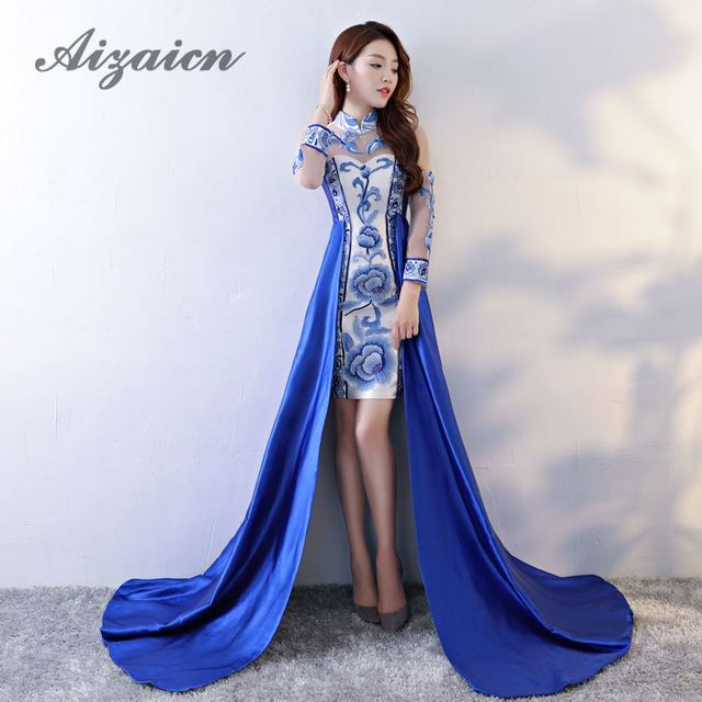 1c4e16a8289 Oriental Evening Gown Blue And White Porcelain Wedding Qipao Long Cheongsam  Sexy Modern Chinese Traditional Dress Strapless