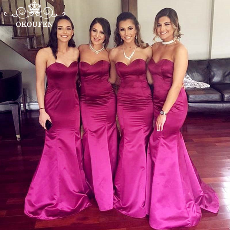 Discount Long Mermaid   Bridesmaid     Dresses   In Fuchsia Satin 2019 Corset Back Under 100 Maid Of Honor   Dress   Party For Women