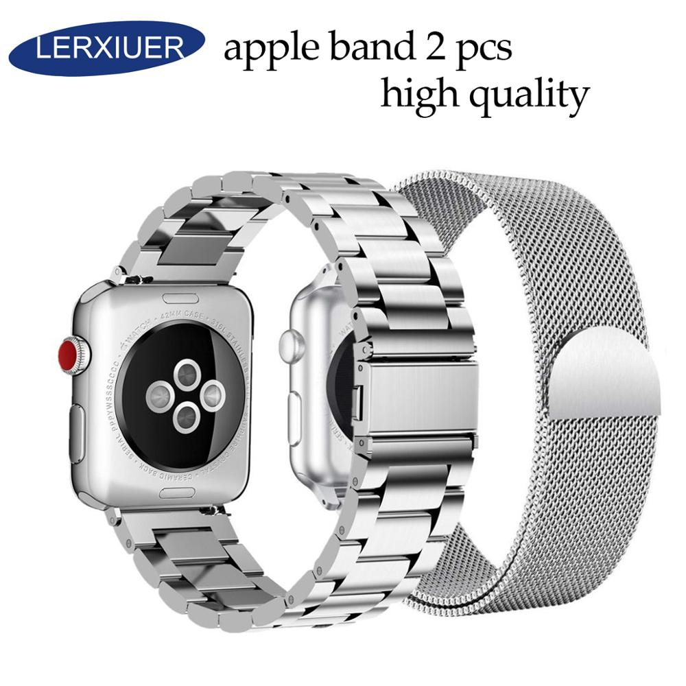 Lerxiuer 2 Pcs strap for Apple watch band iWatch 42mm 38 mm Stainless steel bracelet+Milanese Loop apple 4 44mm