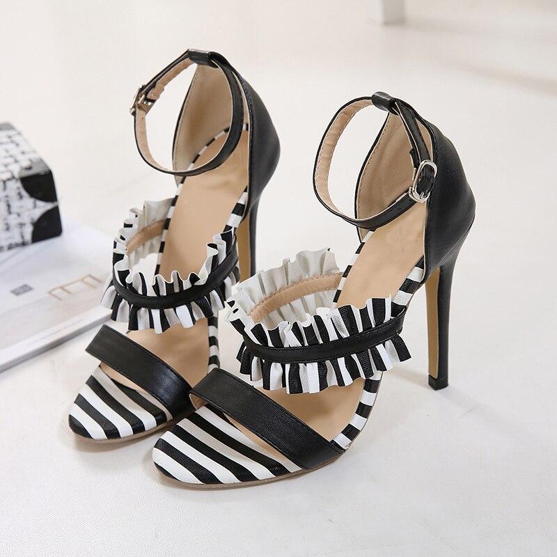 ce693751283b9c Femmes Douces Imprimer 2019 Chaussures Zebra Talons Pompes Zèbre Hauts  Partie Taille Boucle D'été Cheville Sandales ...