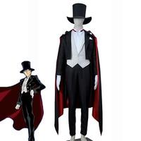 Sailor Moon Tuxedo Mask Chiba Mamoru Cosplay Costume Men's Fashion Black Formal Suit Halloween Carnival Uniforms Custom Made