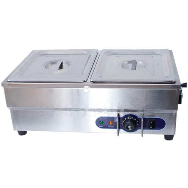 Newest 2 x 1/2 GN Pan Stainless Steel Electric Bain Marie included Trays & Covers Kitchen Food Warmer With Tap