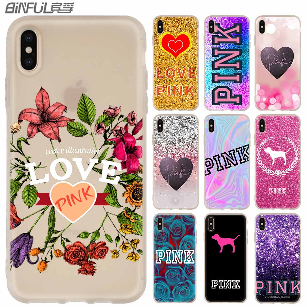 luxury Phone Cases Silicone soft <font><b>Cover</b></font> for <font><b>iPhone</b></font> 11 Pro X XS Max XR <font><b>6</b></font> 6S 7 8 Plus 5 4S SE <font><b>Victoria</b></font> Pink <font><b>Secret</b></font> Fashion Coque image