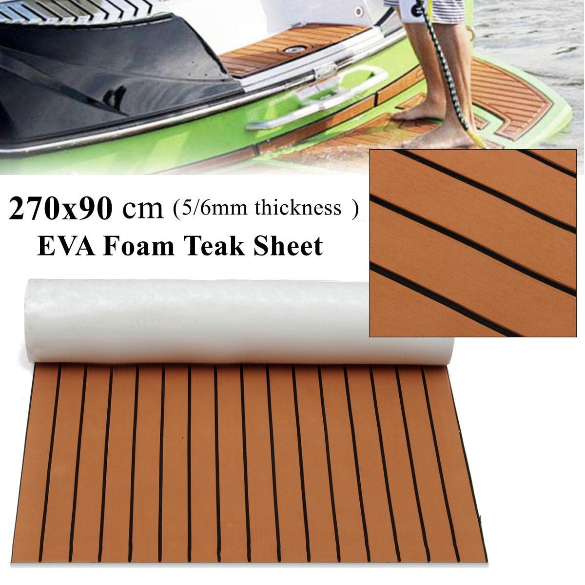 270x90 cm EVA mousse Faux teck platelage feuille brun foncé Marine bateau 35