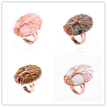 Trendy-beads Rose Gold Color Wire Wrap Pink Quartz Resizable Oval Ring Labradorite Stone Jewelry
