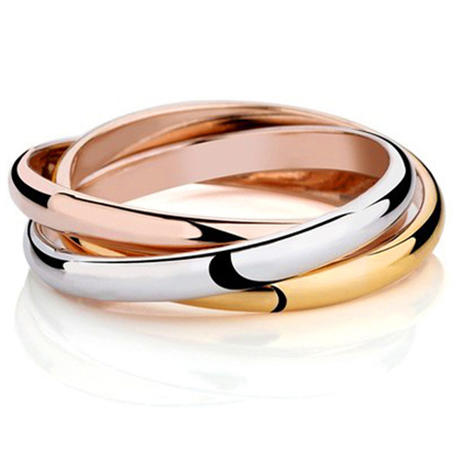Fashion Luxury Famous Brand 3 Color Anel 18K Gold Plated Brand Rings For Women Elegant Party Wedding Ring Rose Gold Fine jewelry