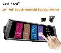 Yashianda 10 дюймов Видеорегистраторы для автомобилей Камера Регистраторы сенсорный Android Зеркало 1080 P Двойной объектив Dashcam заднего 170 градусов Ш