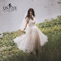 QSYYE 2019 V neck Fairy Berta Sheer Lace Cheap Bridal Gown Wedding Dresses Sexy Mid Length Short Discount Women Summer Skirt