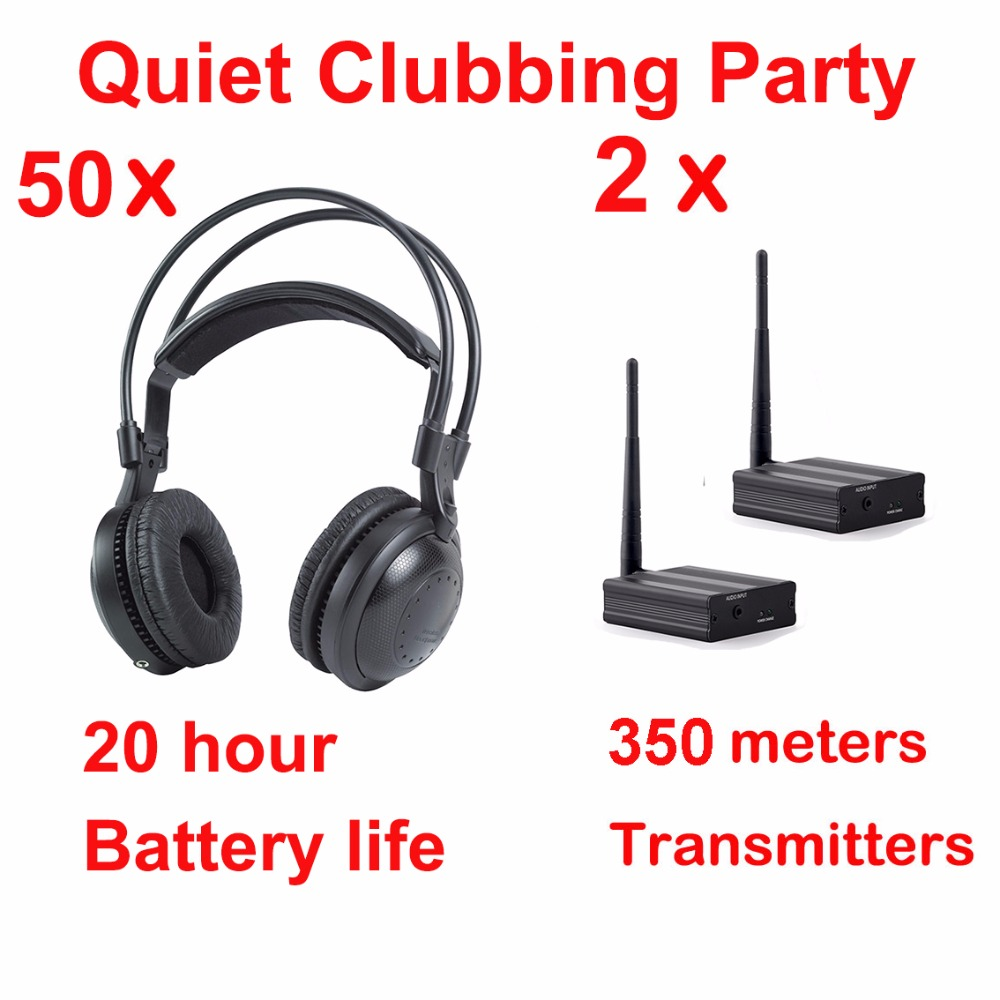 Most Professional Silent Disco compete system wireless headphones - Quiet Clubbing Party Bundle (50 Headphones + 2 Transmitters)