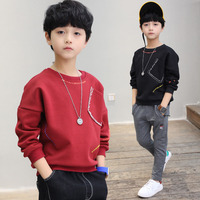 New 2018 Boys T Shirts Kids Long Sleeve Tees Tops Clothes Solid Cotton Spring Autumn Children