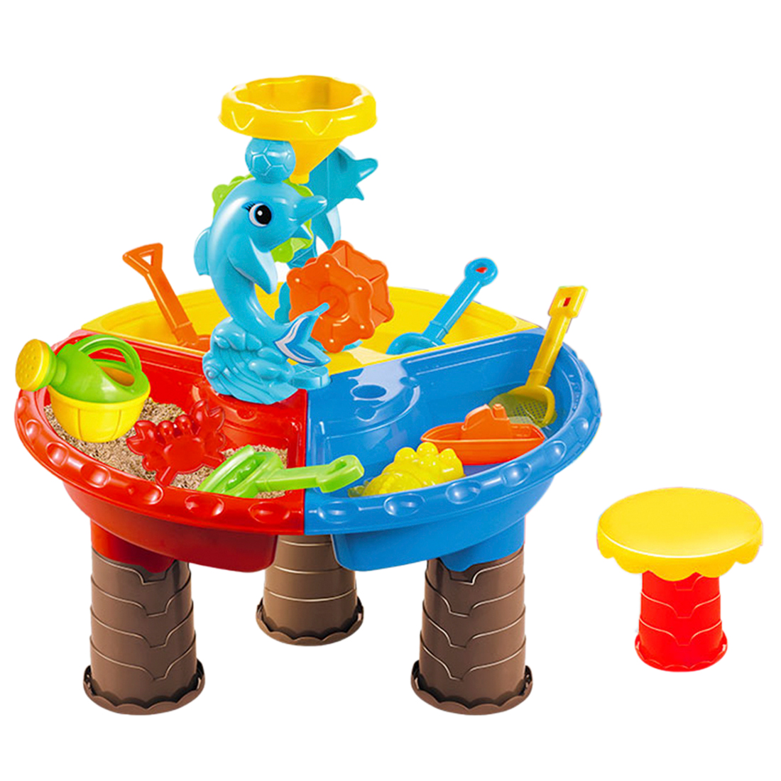 22Pcs Kids Plastic Sand Pit Set Beach Sand Table Water Play Beach Toys For Kids 9827/9826 - Color Random 22pcs sand