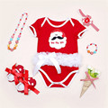 Fashion Baby Girl Climbing Clothes Short Sleeve Red Romper Headband Shoes Necklace Sets Summer Newborn Girl Cotton Clothing Sets
