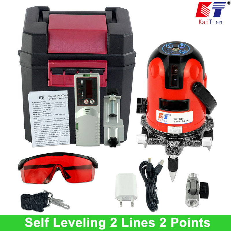 KaiTian Laser Level 2 Lines  2 Points with Slash Function/Outdoor /360 Rotary Self Leveling for 635nM EU Cross Line Lasers Tools