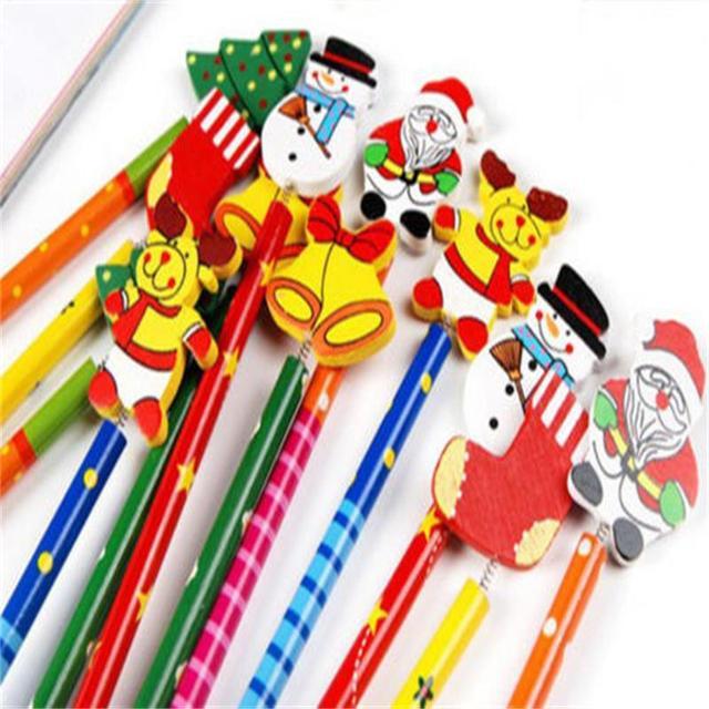 6PCS Creative  Children Stationery Pencil Korean Wooden School Desk Use Christmas Drawing Writng Pencil Standard Pencil 1