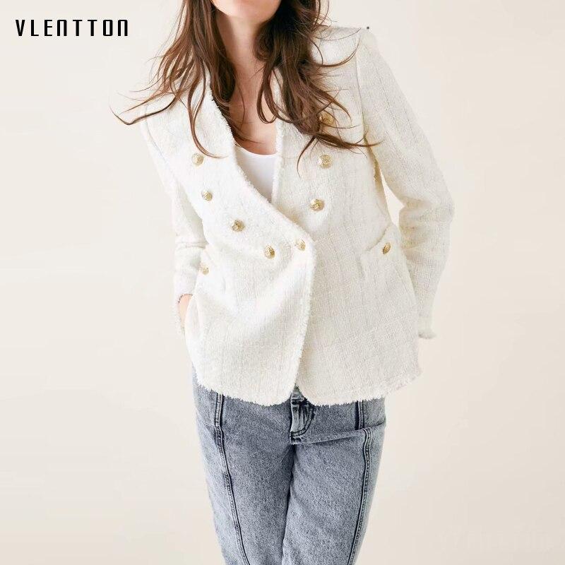 2019 Spring Plaid Office Blazer Women Double Breasted Tassel Tweed Blazer Feminino V- Neck Long Sleeve Women's Jackets Outerwear