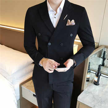 ( Jacket + Vest + Pants ) New Mens Fashion Solid Color Formal Business Double-breasted Suit 3 Set / Groom Wedding Dress Suits