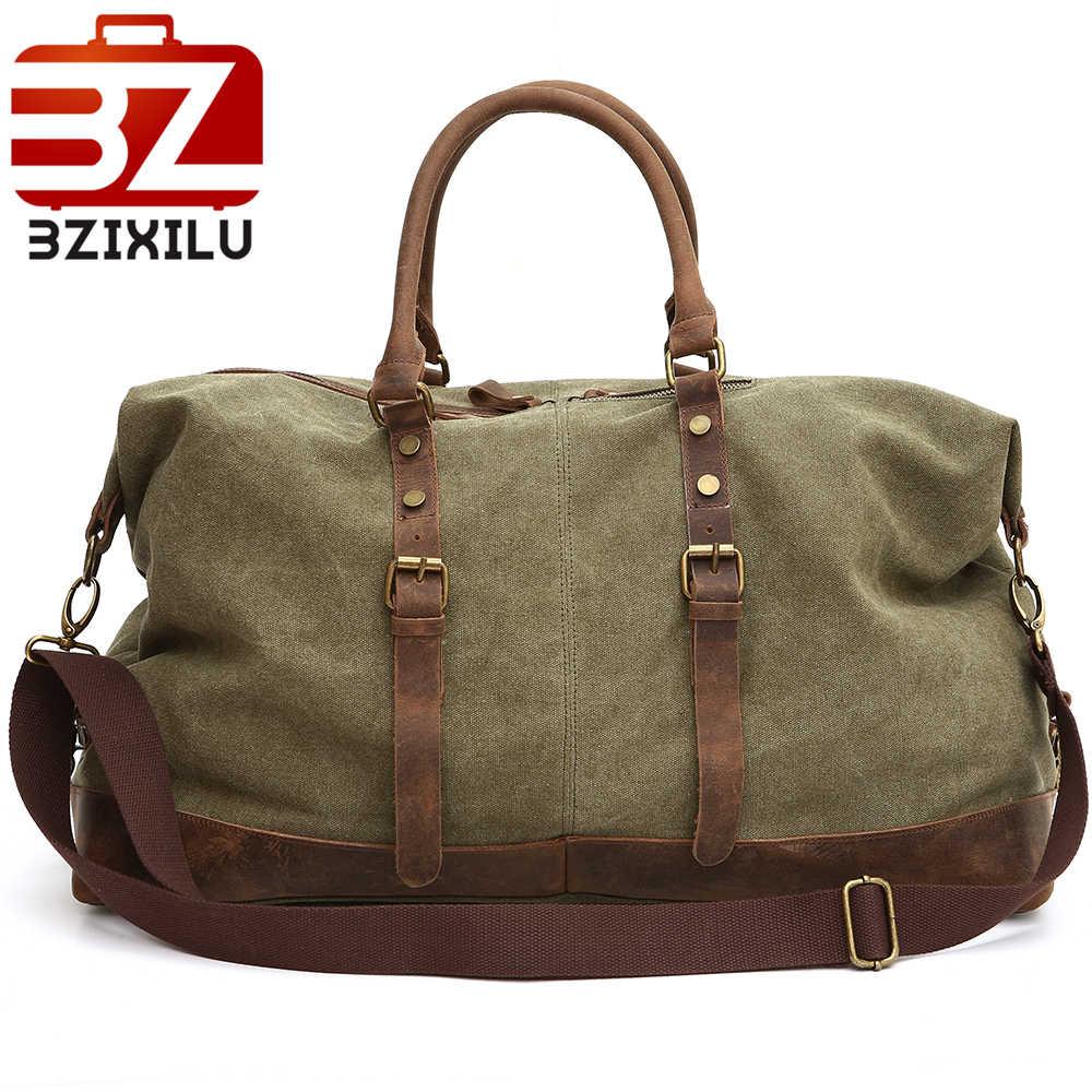 Saco Da Bagagem De Viagem De Couro para Homens BZIXILUCanvas Duffle Sacos de grande Bolsa de Viagem Bolsa organizador Bolsa Grande sacos De Fim de Semana para os homens 2018