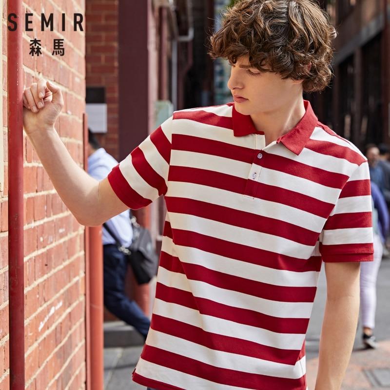 SEMIR Men Polo Collar Short Sleeve Shirt 2019 Summer New Korean Striped Sea Soul Polo Shirt Student Tide