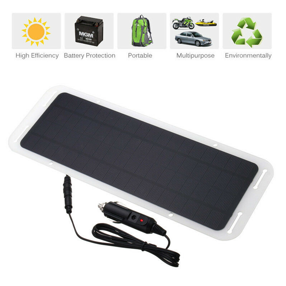 18V <font><b>5W</b></font> <font><b>Solar</b></font> <font><b>Panel</b></font> Car Charger Portable <font><b>Solar</b></font> <font><b>Panel</b></font> Charger USB Port for <font><b>12V</b></font> Automobile Motorcycle Tractor Boat RV Batteries image