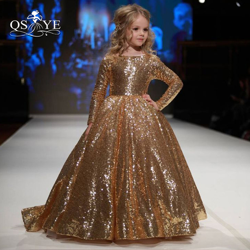 QSYYE 2018 Sparking Gold   Flower     Girl     Dresses   Ball Gown Boat Neck Long Sleeves Floor Length Sequins   Girls   Prom Party Gown