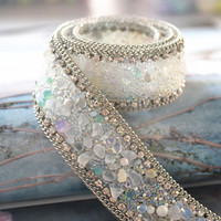 Free Shipping Fake Beaded Lace Trim Vintage Mesh Lace Beaded Pearl Trim Fabric Braid Lace Applique