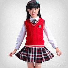 Children's clothing 2018 new style costumes chorus performance clothing long-sleeved knit vest school uniform set 4 sets