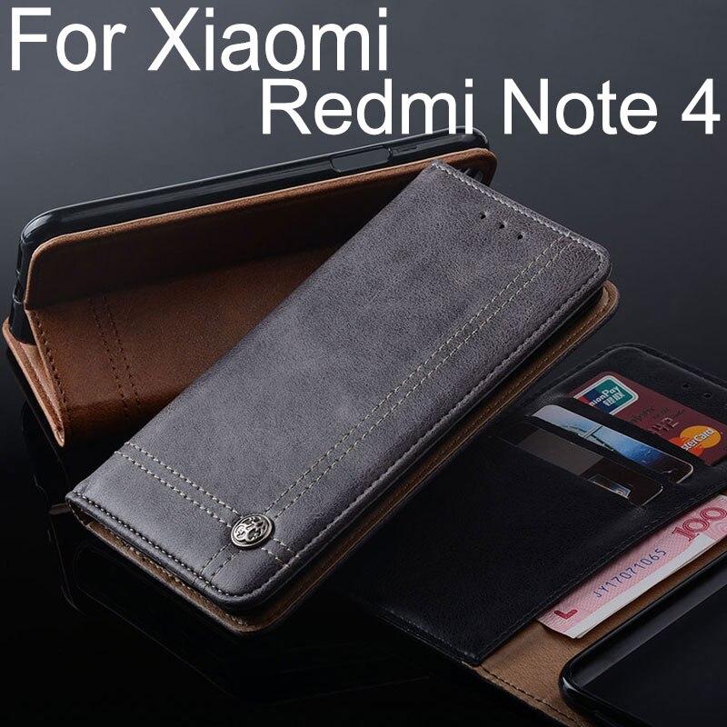 Para xiaomi redmi Nota 4 caso de cuero de lujo cubierta del soporte ranura para tarjeta sin imanes negocios Carcasas para xiaomi redmi nota 4x