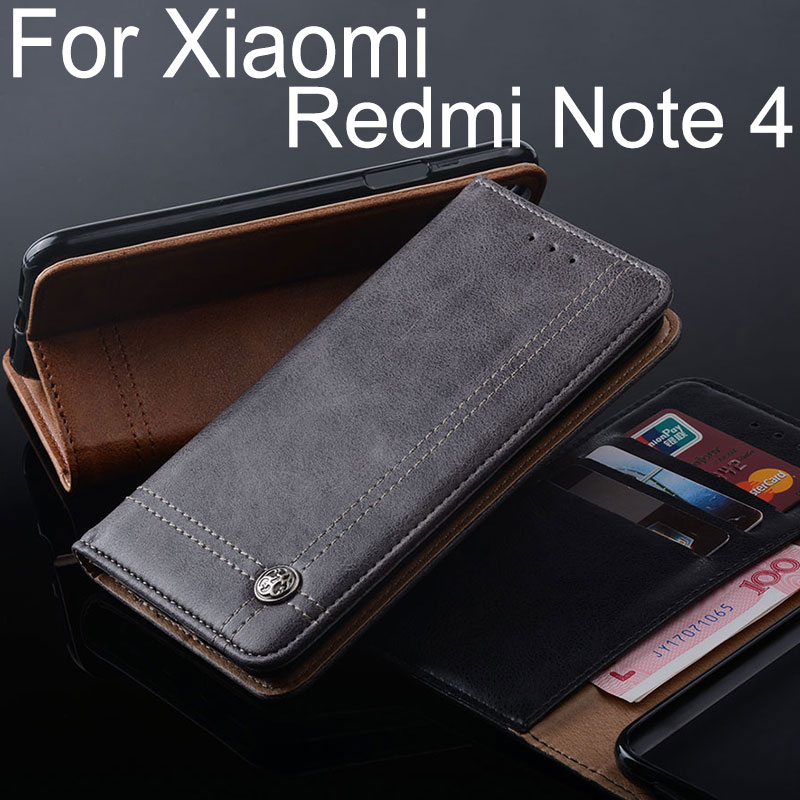 for Xiaomi Redmi note 4 case Luxury Leather Flip cover Stand Card Slot Without magnets Business Cases for Xiaomi Redmi note 4X