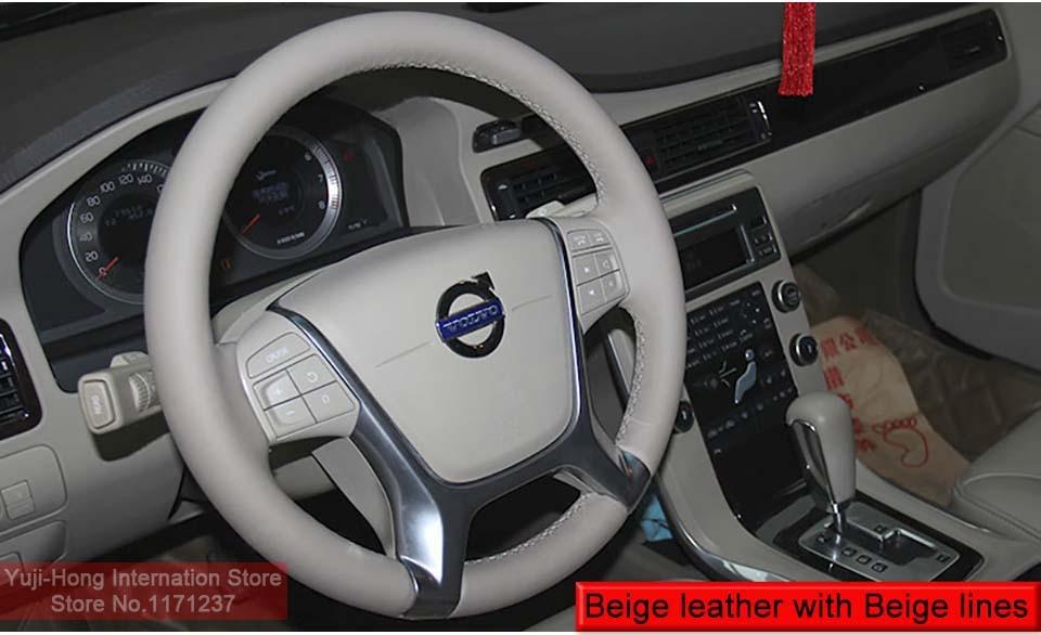 Yuji-Hong Чехлы рулевого колеса автомобиля чехол для VOLVO S80 S80L XC60 2010-2013 натуральная кожа Авто покрытие ручной работы автомобиля-Стайлинг