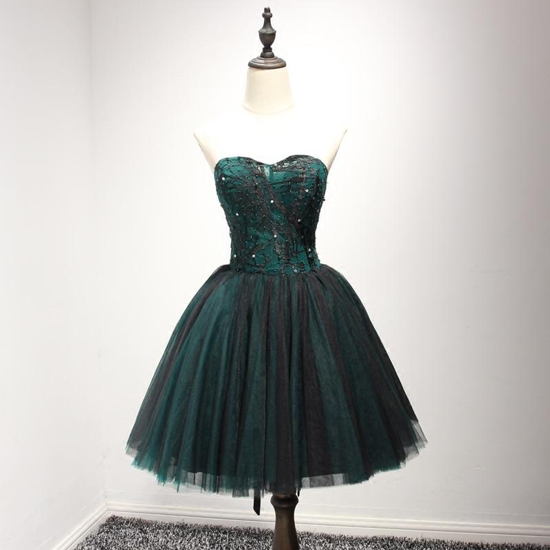 Real Photo Sweetheart Vestidos de Fiesta de Color Verde Oscuro con Cristal Negro