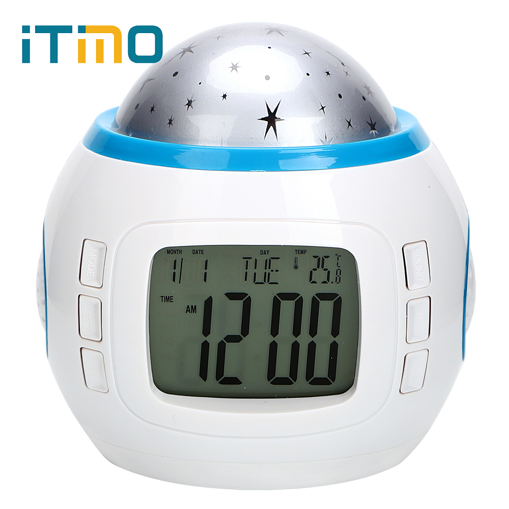 ITimo Rotary Flashing with Alarm Clock LED Night Light Table Lamp for Kid Children Bedroom Starry Sky Star Moon Projector Light led projector lamp colorful star master sky starry moon night light cosmos master for children gift led projection lamp