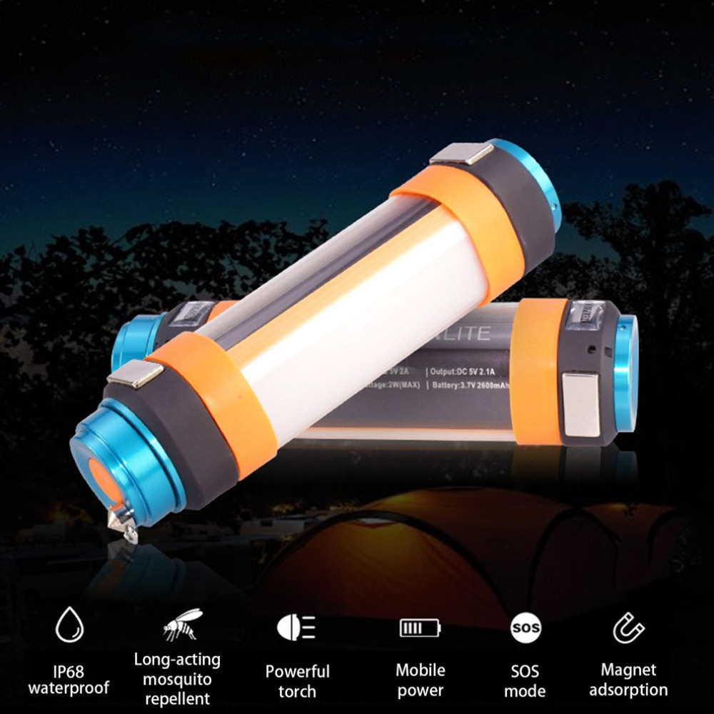 Multifunctional USB Waterproof Outdoor Travel Torch Camping Lantern Portable Hiking Emergency Light For Displacing Mosquitoes