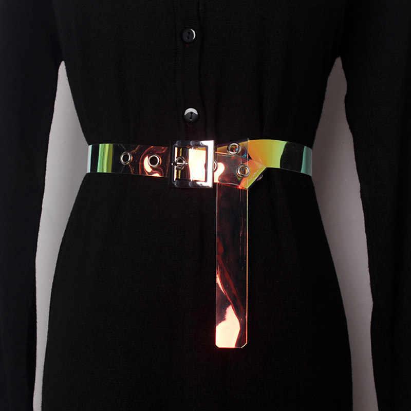 TWOTWINSTYLE Cinto Para Mulheres Básico Transparente PVC Acessórios Compoteira Fêmea 2019 Ocasional Coreano