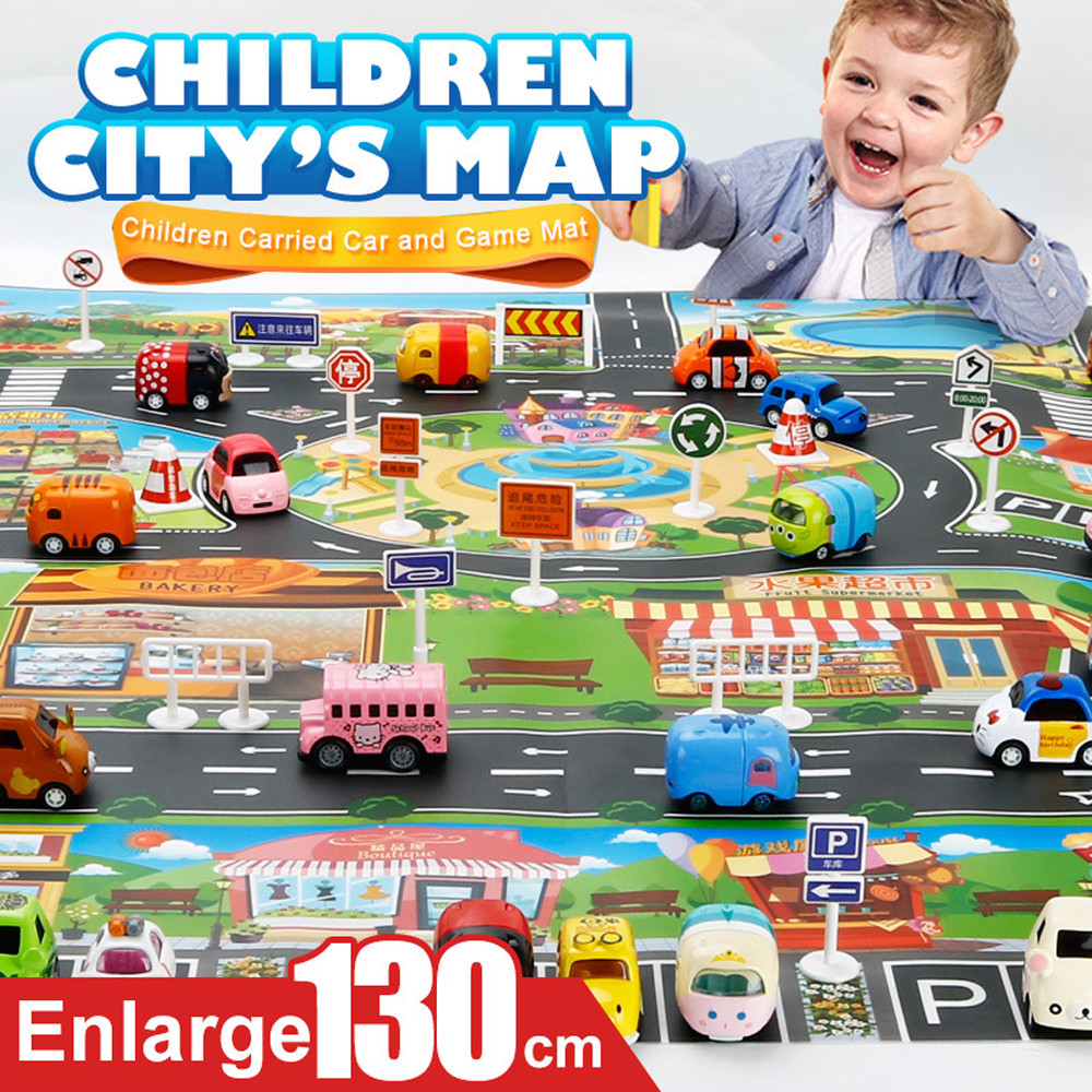 Kids Rug Developing Kids Play Mat City Road Buildings Parking Map Game Scene Map Educational Toys Dropshipping Gifts 5.29