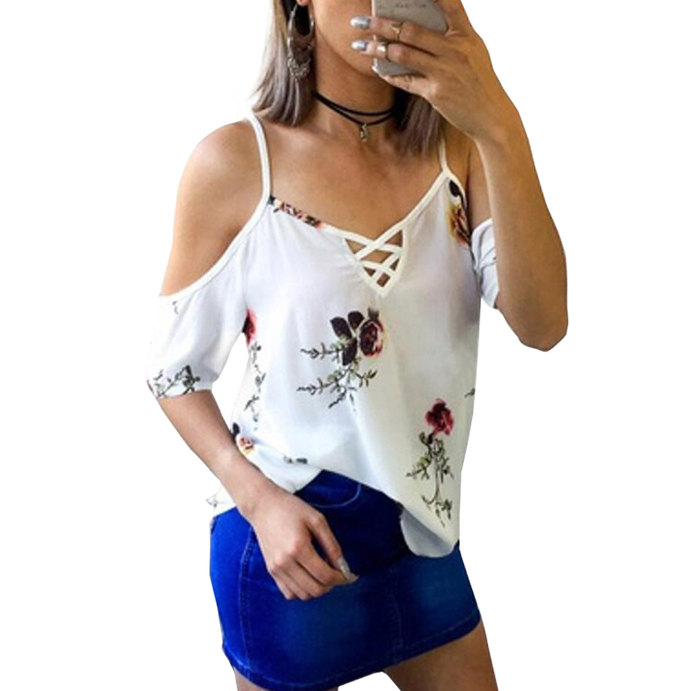 SanHuaZ 2018 Summer Spring Women's Blouses Shirts Casual Beach Printed Floral Off The Shoulder V-neck Women Loose Shirts