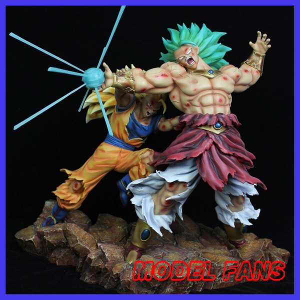 MODEL FANS IN-STOCK Anime Dragon Ball Z 35cm Super Saiyan 3 Son Guko VS Brolly Broli GK resin Figure for collection model fans in stock dragon ball z mrc 30cm son gohan practice gk resin statue figure toy for collection