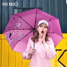 Feinuo Марка зонтик дождь женщины солнцезащитный крем Anti UV сильный складные зонты рыбки Стиль качество ветрозащитный девушки Paraguas