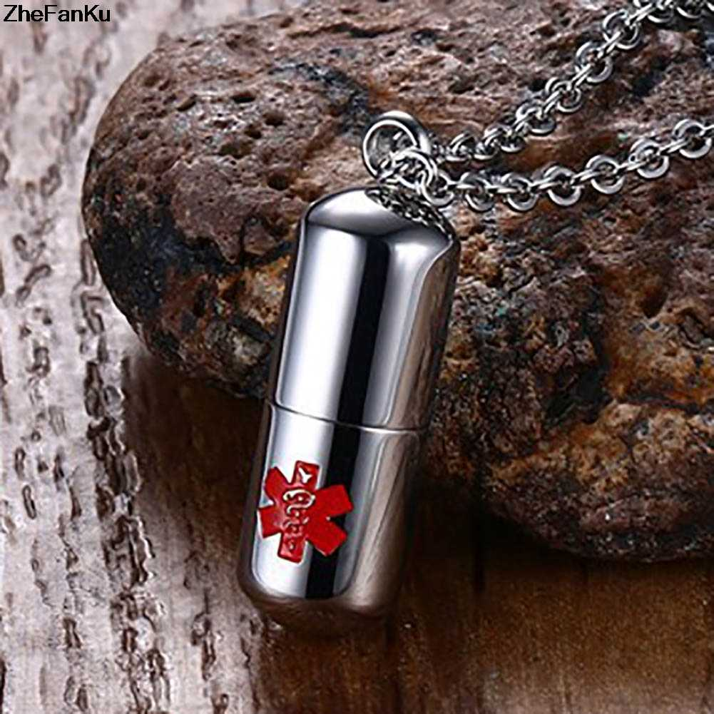 Chokers Necklace Keepsakes Cremation Urn Fashion Jewelry Kolye Mens Necklaces Stainless Steel Open Pills Medical Alert Pendant