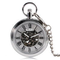 Self Winding Automatic Mechanical Classic Trendy Stylish Exquisite Roman Numbers Open Face Pocket Watch Fob Retro