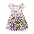 Bebés se viste de algodón dot flora de impresión 2016 nuevo bebé ropa de verano vestido de princesa