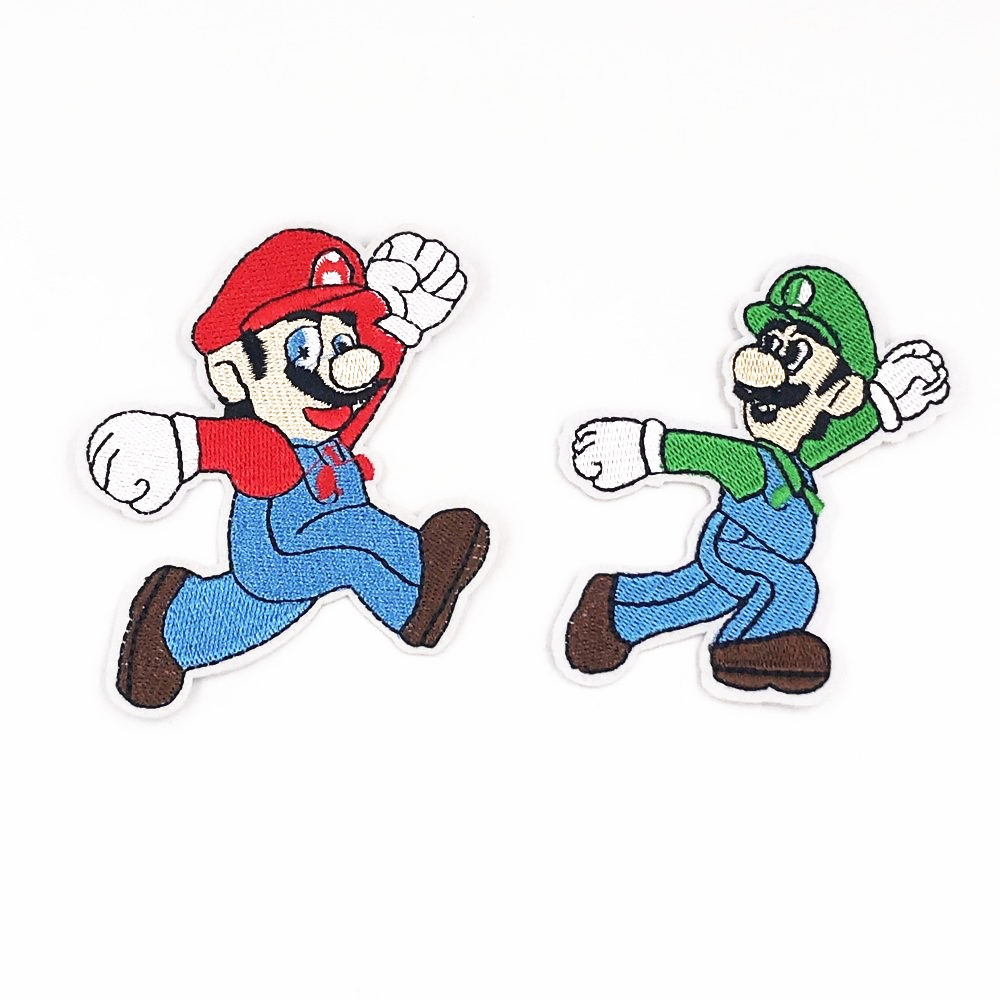 1pcs Super Mario Bros Fabric Embroidered Iron//Sew On Patch for kids Clothes