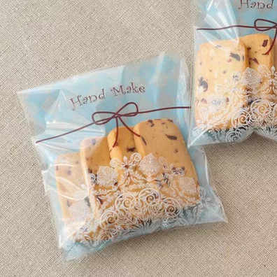 "100pcs Blue Plaid ""Hand Make"" Cellophane Cookie Packing Bag10x10cm-Self Adhesive Seal Small Gift Bags"