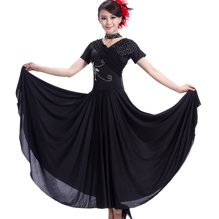 Ballroom Dance Costume Sexy Red Black Flat Shoulder Collar Ballroom Dance Dress for Women Ballroom Dance Competition Dress