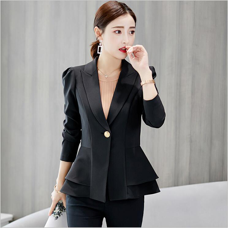 Back To Search Resultshome Zogaa Women New Fashion Business Formal Suits Work Coat Elegant Ruffle Blue White Black Jacket Office Peplum Blazer